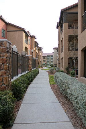 townhouses: A row of new townhouses or condominiums