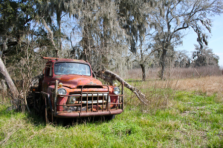 scrap heap: American rusted vintage car in green landscape Stock Photo