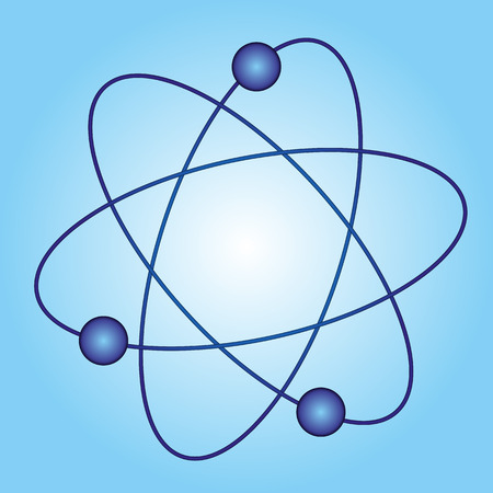 reactor: simple model of an atom on a blue background Illustration