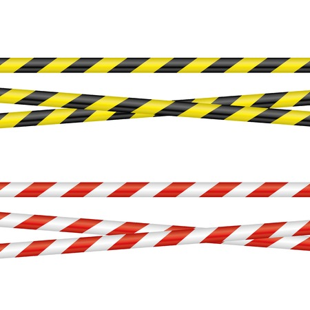 two different barrier tapes on a neutral background Illustration