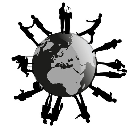 a silhouette of business people on Earth