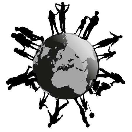 operational: a silhouette of different families on earth Illustration