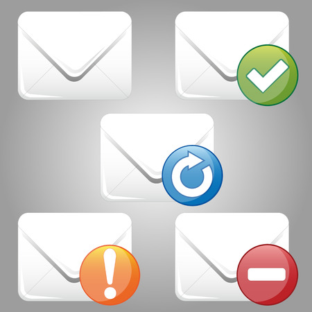 mail delivery: five different colored icons for mail delivery Illustration