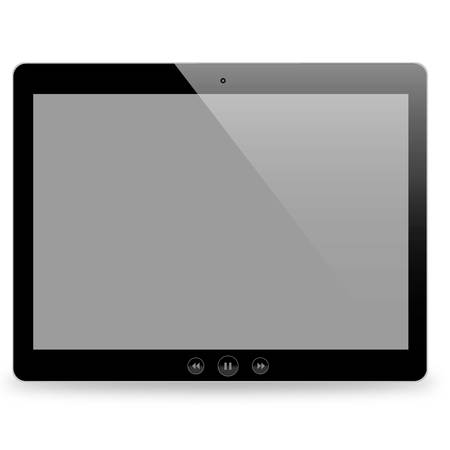 shiny buttons: a clean shiny black tablet with buttons