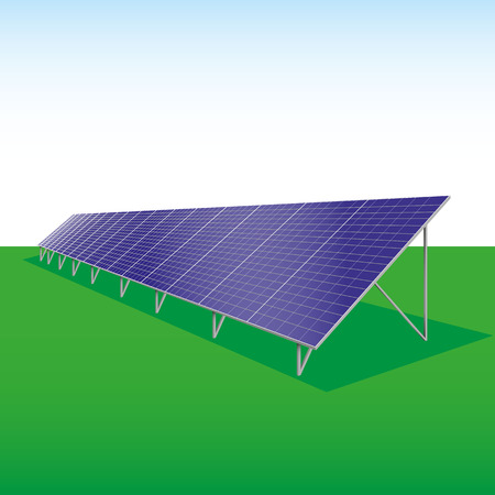 solarcell: illustration of a solar plant in the landscape