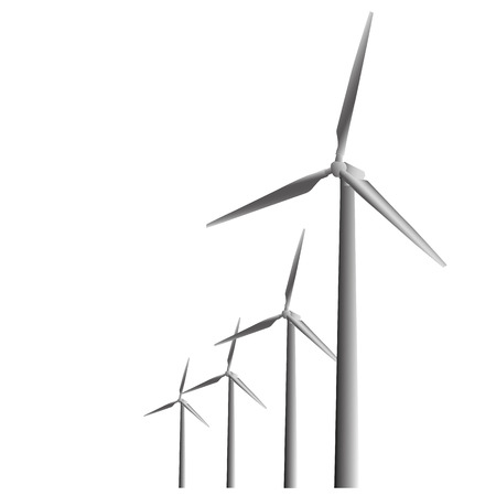 pinwheels: illustration of wind turbines on a neutral background