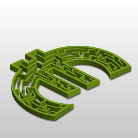 monies: a silhouette of the euro symbol as a maze