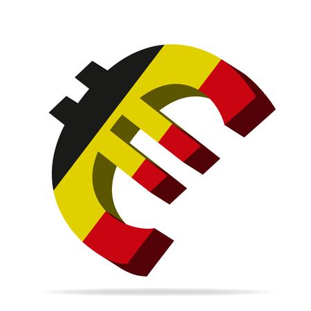 monies: 3D Illustration of the Euro symbol with belgium flag Illustration
