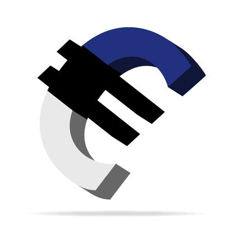 monies: 3D Illustration of the Euro symbol with Estonia Flag