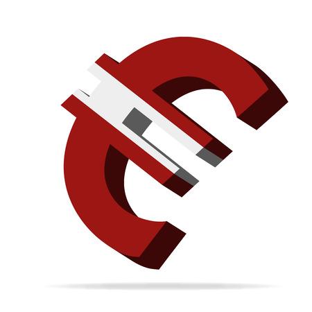 monies: 3D Illustration of the euro symbol with the latvia Flag Illustration