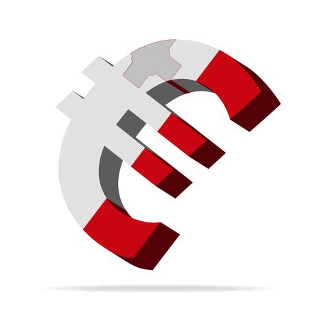 monies: 3D Illustration of the euro symbol with the Malta Flag Illustration