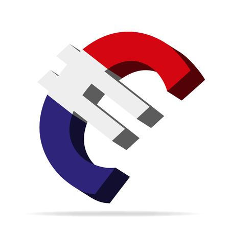 monies: 3D Illustration of the Euro symbol with Netherlands Flag Illustration