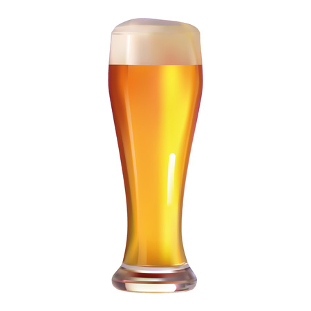 an illustration of a glass of beer on a neutral background
