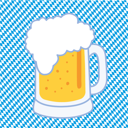 leather pants: a Bavarian beer mug on blue and white checkered background Illustration