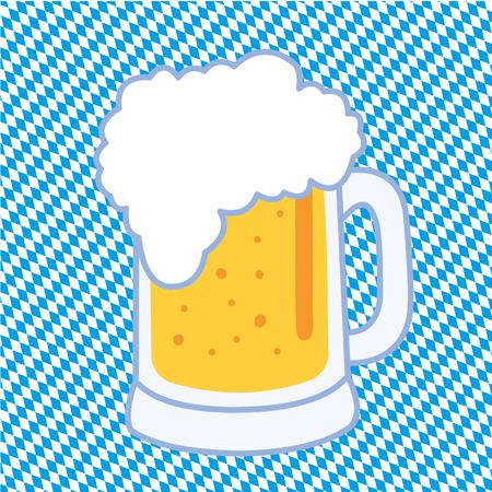 a Bavarian beer mug on blue and white checkered background Illustration