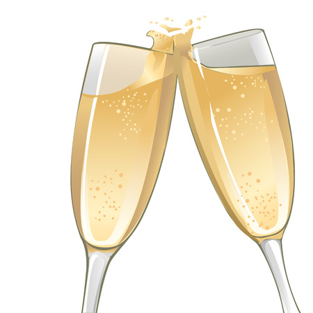 champagne toast: an illustration of two champagne glasses to toast