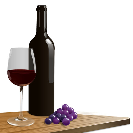 red wine pouring: a red wine bottle with glass and grapes Stock Photo