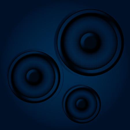 loud speakers: an illustration of three speakers on a dark background Illustration