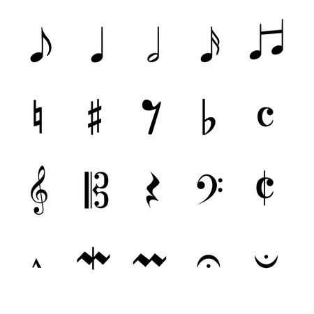 mozart: a moving illustration with the silhouettes of musical notes
