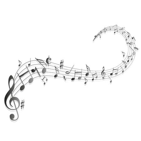 een bewegende afbeelding met de silhouetten van muzieknoten