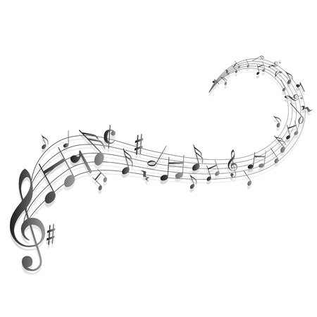a moving illustration with the silhouettes of musical notes
