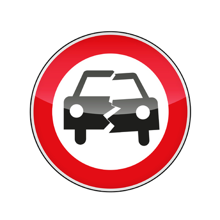 overtake: a sign symbolizing an accident Illustration