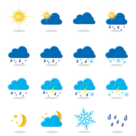 thunderstorms: an illustration of different types of weather Illustration
