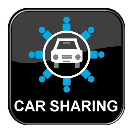 Glossy Button black - Carsharing Stock Photo