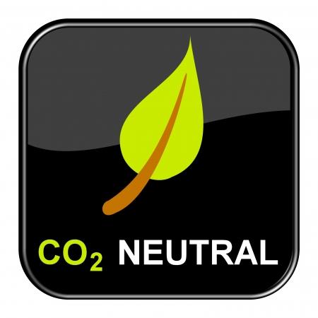 pollutant: Glossy Button black - No CO2 Stock Photo