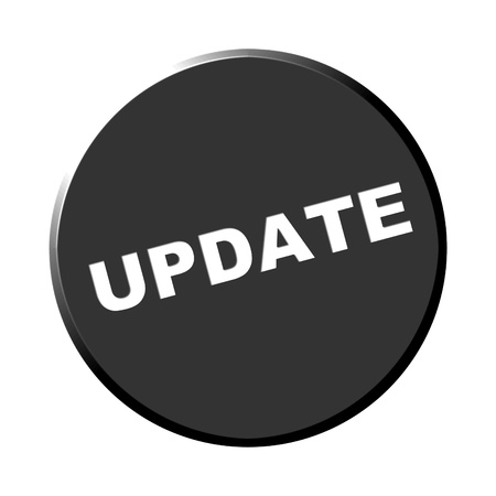destroyer: Round black button - update Stock Photo