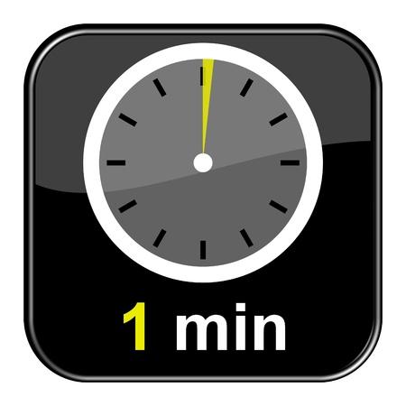 Glänzend schwarz Taste - 1 Minute Lizenzfreie Bilder