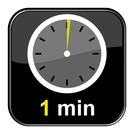 minute: Glossy black button - 1 minute