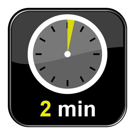 cronometro: Bot�n Negro brillante - 2 minutos