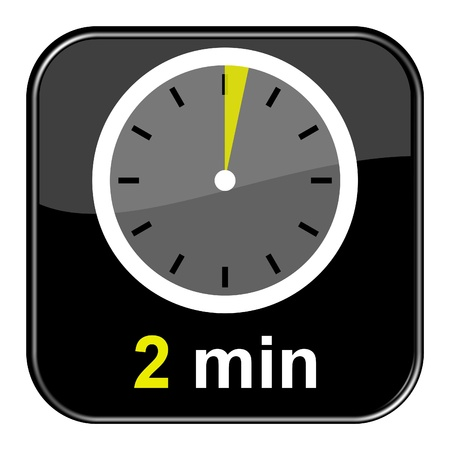 Glossy Black Button - 2 minutes Stock Photo