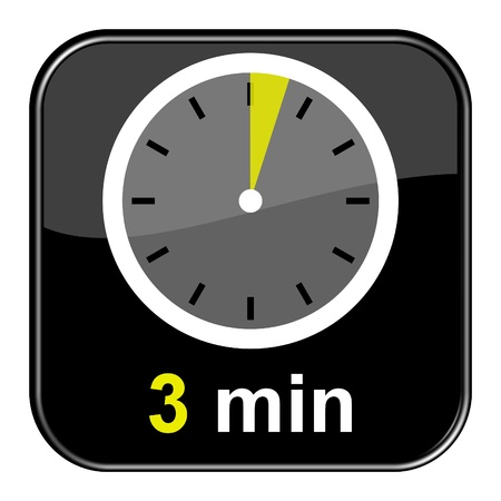 Glossy Black Button - 3 minutes Stock Photo