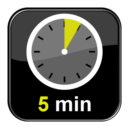 minute: Glossy black button - 5 minutes Stock Photo