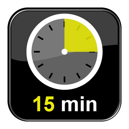 minute: Glossy black button - 15 minutes Stock Photo