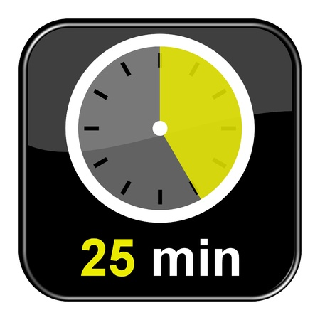 seem: Glossy black button - 25 minutes Stock Photo