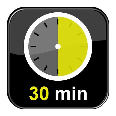 Glänzend schwarz-Taste - 30 Minuten Lizenzfreie Bilder