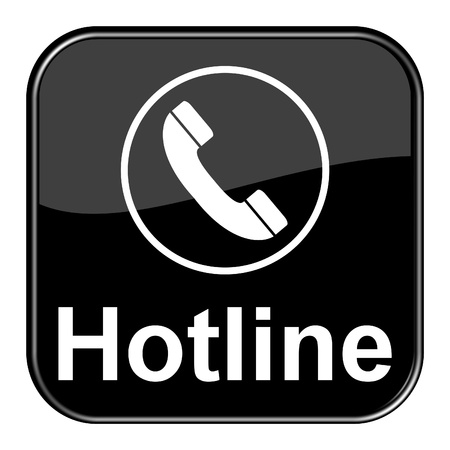 Glossy black button - Hotline Stock Photo - 13758494