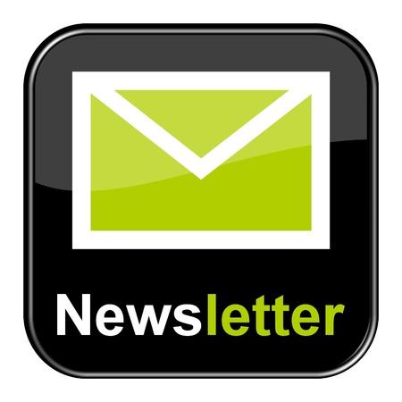 Glossy Black Button - Nieuwsbrief Stockfoto