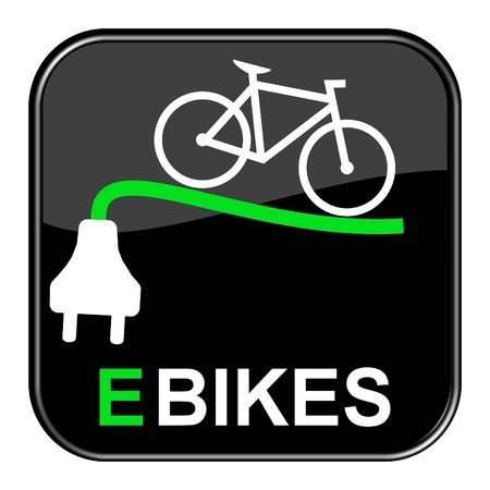 Glossy black Buton - ebike Stock Photo - 13758502