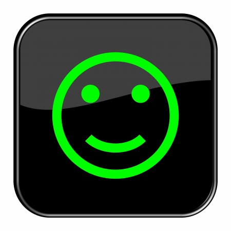 Glossy black button - smiley happy