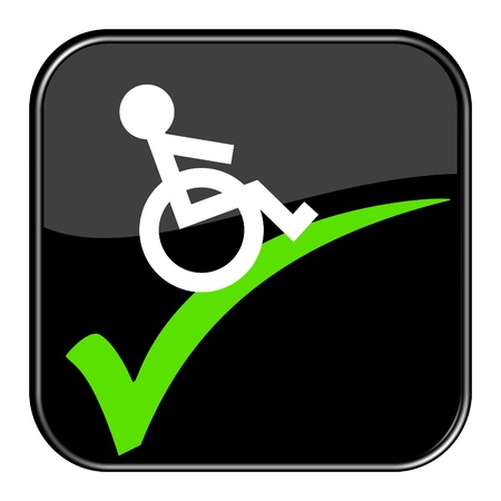 Glossy black button - Wheelchair  Okay