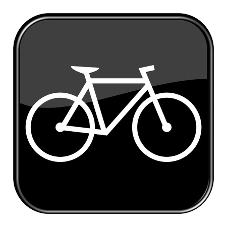 Glossy black button - Bicycle Stock Photo
