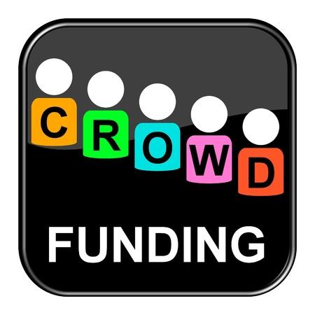 financing: Glossy black button - Crowdfunding