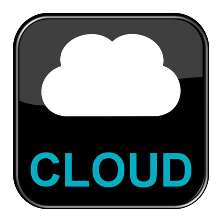 Glossy black button - Cloud photo