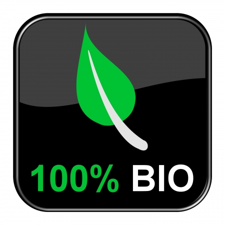 Glossy black button - 100 Percent  Bio Stock Photo - 13784550