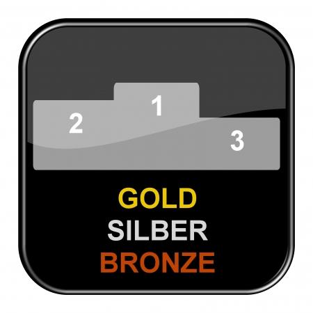 Glossy Black Button - Gold Silver Bronze photo