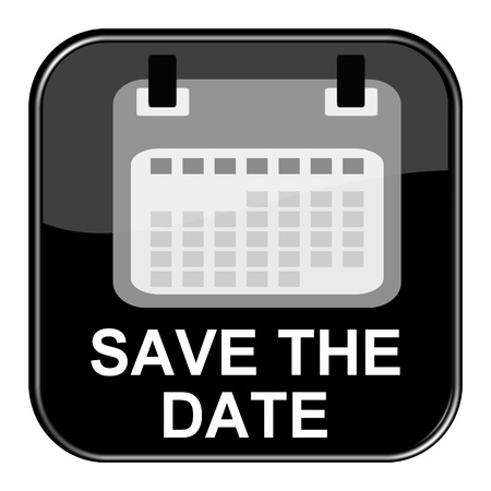 date: Glossy Black Button - Save the Date Stock Photo